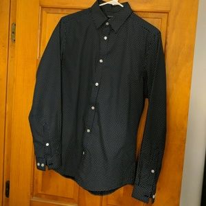 Mens H&M Slim Fit Dress Shirt Navy Blue Polka Dot